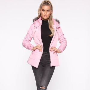 Fashion Nova pink puffer jacket